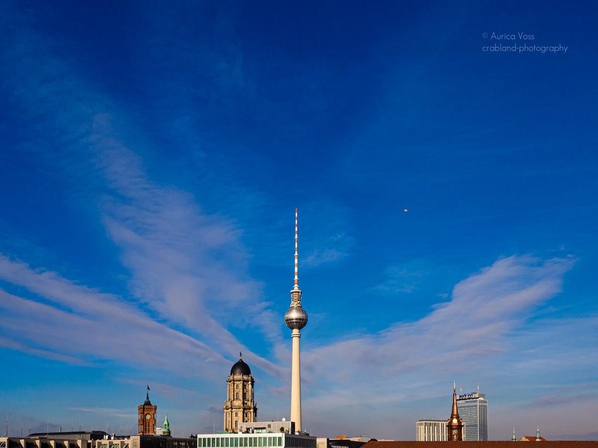 Berliner Fernsehturm und Skyline im Sommer